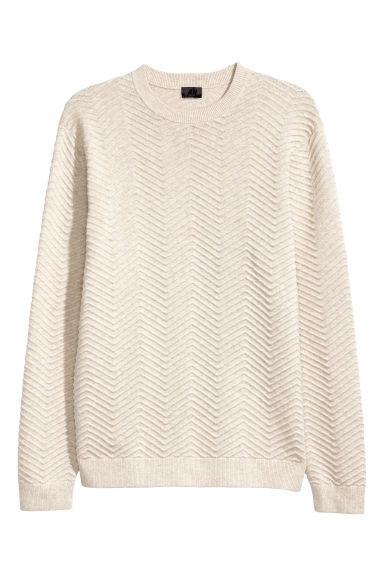 Textured-knit jumper - Beige -  | H&M CN