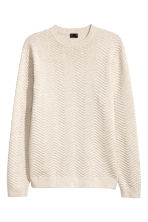 Textured-knit jumper - Beige -  | H&M 2