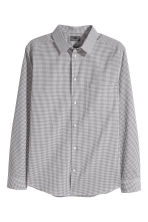 Poplin Shirt Slim fit - Black/white checked - Men | H&M CA 2