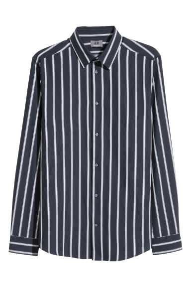 Premium cotton shirt - Dark blue/Striped -  | H&M CN