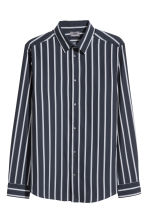 Premium cotton shirt - Dark blue/Striped -  | H&M CN 2