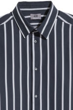Premium cotton shirt - Dark blue/Striped -  | H&M CN 3