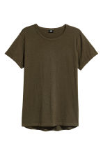 Slub jersey T-shirt - Dark khaki green - Men | H&M CN 2