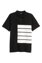 Polo shirt with a print motif - Black - Men | H&M 2