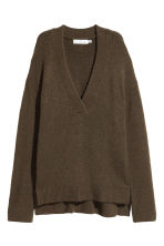 Oversized jumper - Dark khaki green - Ladies | H&M CN 2