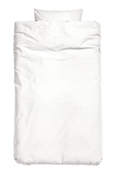 Cotton duvet cover set - White -  | H&M CN