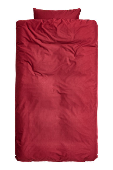 Cotton duvet cover set - Dark red - Home All | H&M CN