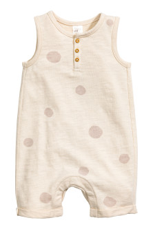 Sleeveless jersey romper suit