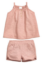 Cotton dress and shorts - Dusky pink - Kids | H&M CN 1