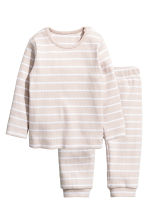Cotton jersey top and trousers - Light beige/Striped - Kids | H&M 1