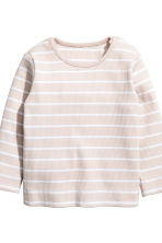 Cotton jersey top and trousers - Light beige/Striped - Kids | H&M 3