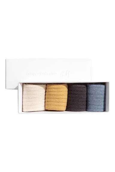 4-pack socks in a box - Blue/Mustard yellow - Kids | H&M 1