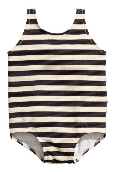 Striped swimsuit - Light beige/Striped - Kids | H&M 1