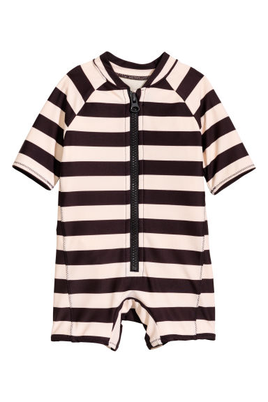 UPF50 連身泳裝 - Black/Beige/Striped -  | H&M