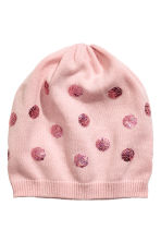 Fine-knit hat with sequins - Light pink/Spotted -  | H&M 1