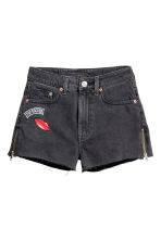 Denim shorts with zips - Dark grey - Ladies | H&M 2