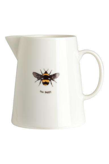 Porcelain jug with print motif - White/Bee - Home All | H&M CN