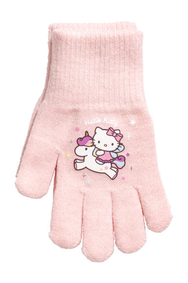 Gloves with a print motif - Light pink/Hello Kitty -  | H&M CN 1
