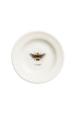 Porcelain plate with motif - White/Bee - Home All | H&M CN 1