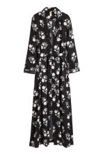 Long satin coat - Black/Floral - Ladies | H&M 2