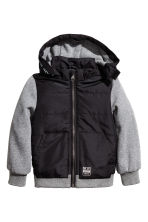 Lightly padded jacket - Black/Grey marl - Kids | H&M CN 2