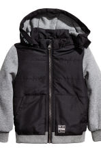 Lightly padded jacket - Black/Grey marl - Kids | H&M CN 3