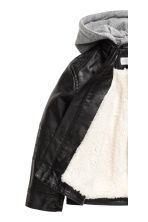 Pile-lined biker jacket - Black -  | H&M 3