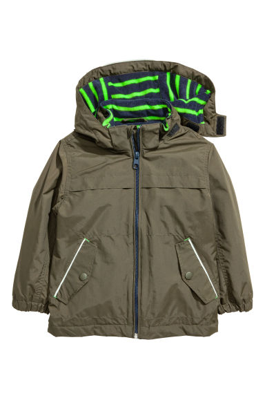 Fleece-lined outdoor jacket - Khaki green - Kids | H&M IE