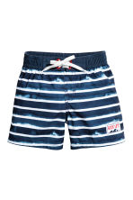 Patterned swim shorts - Dark blue/Striped - Kids | H&M CN 1