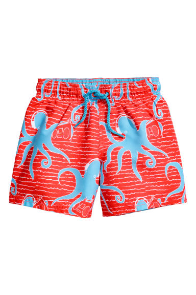 Patterned swim shorts - Bright red/Octopuses -  | H&M