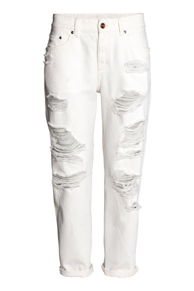 Boyfriend Low Ripped Jeans - White denim - Ladies | H&M CN 1