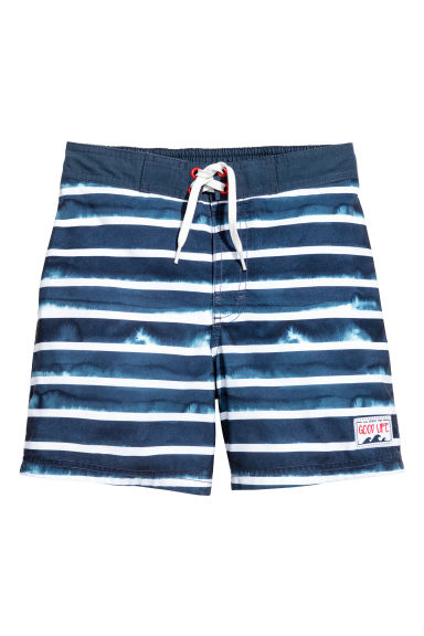 Patterned swim shorts - Dark blue/Striped -  | H&M
