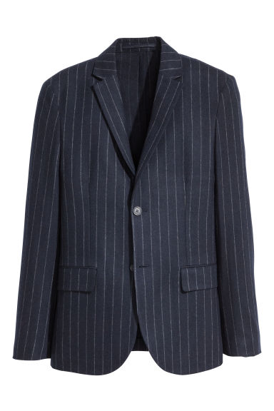 Jacket Slim fit - Dark blue/White striped - Men | H&M IE