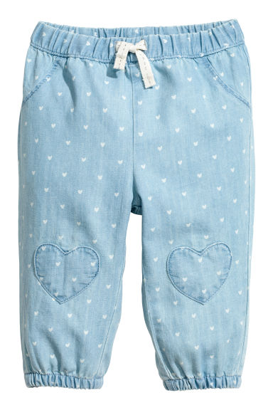 Pull-on cotton trousers - Light blue/Hearts - Kids | H&M 1