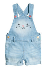 Dungaree shorts - Light denim blue - Kids | H&M CN 1