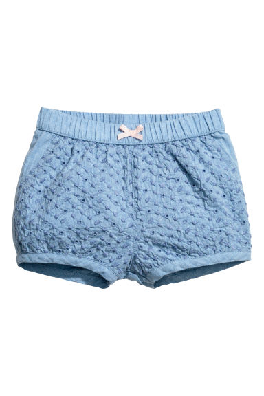 Embroidered puff shorts - Blue - Kids | H&M 1