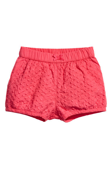 Embroidered puff shorts - Raspberry pink - Kids | H&M