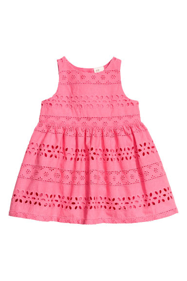 Embroidered cotton dress - Raspberry pink - Kids | H&M