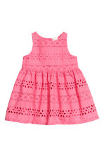 Embroidered cotton dress - Raspberry pink - Kids | H&M 1