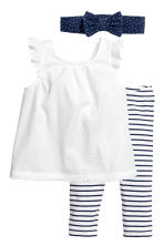 3-piece cotton set - White/Dark blue/Striped -  | H&M 1