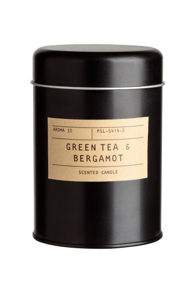 Geurkaars in metalen blik - Zwart/Green tea & Bergamot - HOME | H&M BE 1