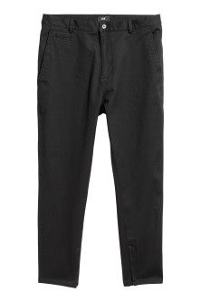 Low-crotch twill trousers