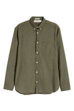 Cotton shirt Regular fit - Khaki green - Men | H&M 2