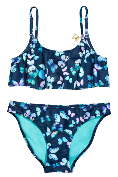 Frilled bikini - Dark blue/Butterflies - Kids | H&M 1