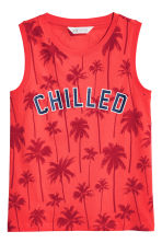 Printed vest top - Coral red -  | H&M 2