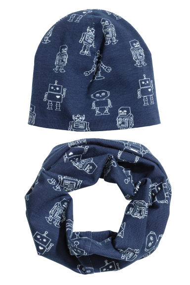 Hat and tube scarf - Dark blue/Robot - Kids | H&M CN 1