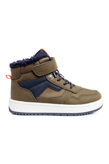Pile-lined hi-tops - Khaki/Dark blue -  | H&M CN 1