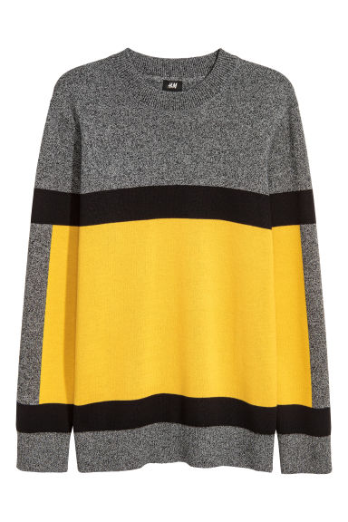 Knitted jumper - Dark grey/Yellow - Men | H&M GB