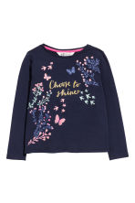 Jersey top with a print motif - Dark blue - Kids | H&M CN 2