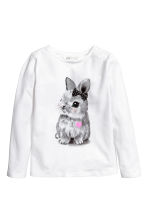 Jersey top with a print motif - White/Rabbit - Kids | H&M 2